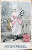 1905 First of April/Premier Avril Postcard: Woman with a Large Fish