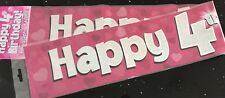 Girls 4th Birthday Banner  2.6M -can be split into 3- 4th  Birthday - Pink Heart