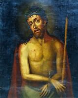 ECCE HOMO. OIL ON CANVAS. FRAME WITH INCRUSTATIONS. SPAIN. XIX CENTURY