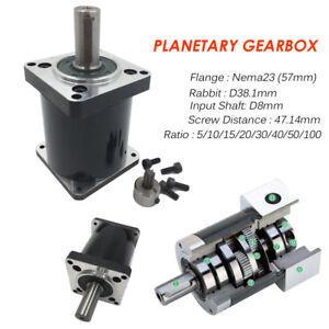 NEMA23 Planetary Gearbox Stepper Reducer 5:1 10:1 20:1 30:1 50:1 100:1 fr Router