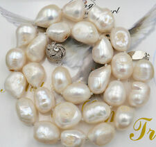 "New 12-14mm SOUTH SEA WHITE BAROQUE PEARL NECKLACE 18"" YL"