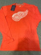 NWT Men's Medium Red Wings Long Sleeve T Shirt Fanatics Hockey
