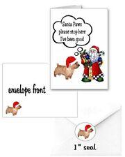 30 Norwich Terrier Christmas cards seals envelopes 90 pieces Santa Paws design