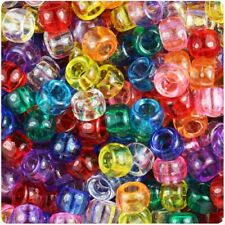 TRANSPARENT Pony Beads 9x6mm 100pcs Hair Braid, Mixed Colours, Spacer
