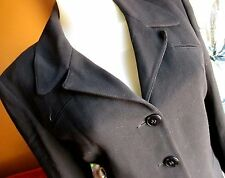 sz 6 Vtg 1930s Jet Black Cotton Gabardine Deco Modern Padded ShoulderJacket