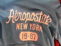 AEROPOSTALE NEW YORK ORIGINAL CLASSIC BLUE SWEATSHIRT HOODIE WOMENS MEDIUM