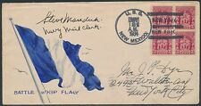"""#680 ON """"BATTLE SHIP FLAG"""" HAND PAINTED COVER U.S.S. NEW MEXICO CANCEL BS2074"""