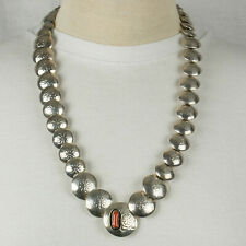 """Vintage Navajo Sterling Silver Coral Stamped Pillow Bead Disc 26"""" Necklace 71g"""