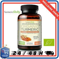 Organic Tumeric Curcuma Poivre Noir Gingembre 100% Bio 120 Gélules Végétal 710mg