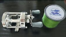 RAH CL50 Classic Round Baitcasting Reel & 547 Yard 60lb Test Line Braided Line