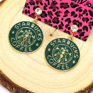 Hot Green Enamel Starbucks Coffee Brand Crystal Betsey Johnson Women Earrings
