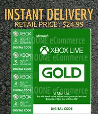 Microsoft Xbox Live 3 Month Gold Membership ⚡⚡INSTANT DELIVERY, RETAIL $24.99⚡⚡
