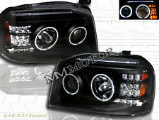 FIT FOR FRONTIER 01-04 CCFL PROJECTOR HEADLIGHTS W/LED BAR BLACK AMBER