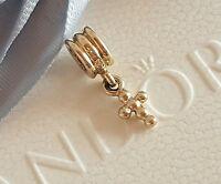 Authentic Pandora 14ct 14k Gold Beaded Holy Cross Dangle Charm 750322 - retired