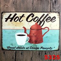 Metal Tin Sign hot coffee Decor Bar Pub Home Vintage Retro Poster Cafe ART