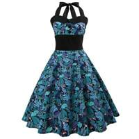 Halter Dress Sleeveless Swing vintage women Summer Party Evening Dresses floral