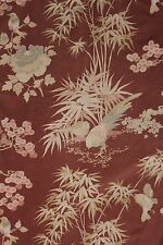 Vintage French satinized cotton 1930's  bird Chinoiserie design brown pink blue