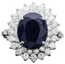 6.00Ct Natural Blue Sapphire & Diamond 14K White Solid Gold Ring