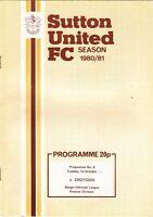 Sutton United v Croydon 1980/1 (14 Oct) Isthmian League