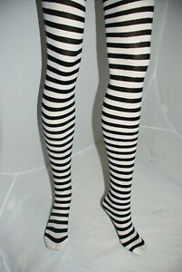Fashion Tights Black and White Striped Soft Touch Every Day And Goth Dress Wear