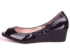 VINCE CAMUTO Sz 6B Low Wedge Pump Peeptoe Shoe Black Patent Leather