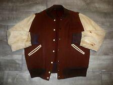 Vintage 1950s Distressed Leather 50s Wool Letterman Jacket Car Club Hot Rod XL