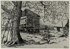 DEREK W S BENNEY Signed Etching THE OLD SHED 1948