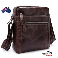 Vintage Real Leather Shoulder Crossbody iPad Tablet Satchel Red Brown mini bag