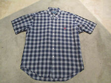 VINTAGE Ralph Lauren Polo Button Up Shirt Adult Large Blue White Plaid Shield