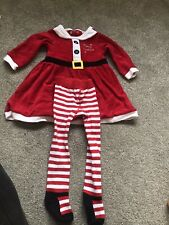 Baby Girl 9-12 Months Christmas Dress And Tights