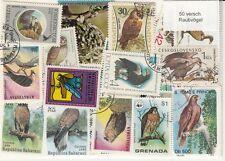 50 Briefmarken Greifvögel ,  Raubvögel ,  Eule , Adler