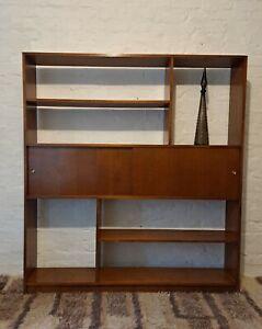 Mid Century Hardwood Wall Unit Book Shelf Storage Vintage 1960s