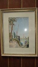 Belle aquarelle orientaliste encadrée signée Paysage bords d´eau chemin palmiers