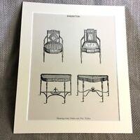 1900 Antico Stampa Disegno Camera Mobili Sedia Tavolo Classica Sheraton Sedie
