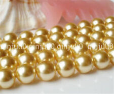 Beautiful 8mm gold Round Shell Pearls Beads 15 inch JL467