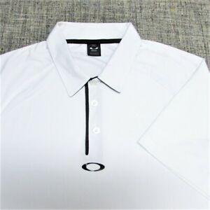 OAKLEY POLY GOLF SHIRT--L--LOGOS--WHITE---EXCEPTIONAL SPOTLESS QUALITY!