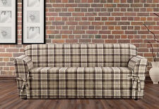 Sure Fit Highland Plaid tan One Piece  slip cover slipcover sofa