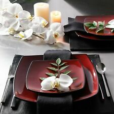 Beautiful 16-Piece Black And Red Dinnerware Set Round Square Plates Bowls Mugs