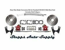 Rear Disc Brake Conversion Kit for Standard GM 10/12 Bolt Rear End, Red Calipers