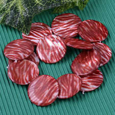 1 Strand Mother Of Pearl Shell Red Round Flat Coin Zebra Stripe Loose Beads 30mm
