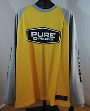 Pure Polaris Long Sleeved Yellow Grey Cotton Jersey Tee Shirt Sz L. New with tag