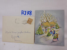 VINTAGE CHRISTMAS CARD-ENVELOPE-STAMP 1946 40'S GLITTER BELL DRESS HOUSE-TREE