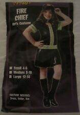 Fire Chief Spirit Halloween Costume Dress - Black - Girl's Large (12-14) - CX10