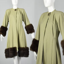 XS 1940s Green Coat Wool Overcoat Fox Fur Trim Winter Jacket WWII Pinup 40s VTG