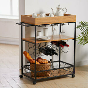 Drinks Trolley Kitchen Cart Bar Alcohol Wine Glass Bottles Hanging Rack Holder