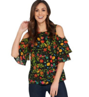 Linea by Louis Dell'Olio Wild Flower Cold Shoulder Top - Black Multi - 2X