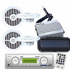 200 Watt Marine MP3 WB AM/FM Radio 4 New Speakers & 400W Amp +Cover W/Antenna
