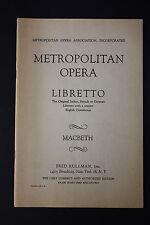 SHEET MUSIC BOOK: Metropolitan Opera Macbeth Verdi FRED RULLMAN