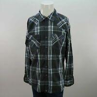 Mens Wrangler 20x XL Blue Gray Striped Pearl Snap Button Up Long Sleeve Shirt