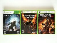 Lot 3 Xbox 360 Action Games - TESTED - Halo 4 Gears of War 1 & 2